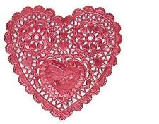 "RED FOIL HEART DOILIES 3.5"" LOT 4 PacksX 12Ct= 48 Pcs DEFECTIVE tiny LETTERS NEW"