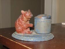 very vintage old antique metal bear inkwell Germany souvenir of Gardiner, Mont
