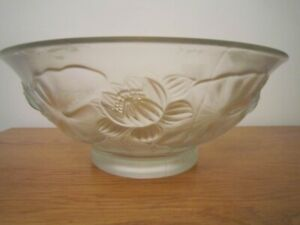 R Lalique large bowl signed size  11 3/8 x 4 5/8  inches