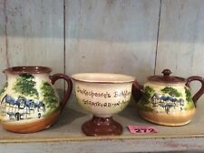 "TORQUAY POTTERY DEVON 3 Items  ""SHAKESPEARE'S BIRTHPLACE STRATFORD ON AVON"""