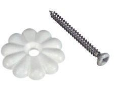 "Rosettes with Screws White Mobile Home Rv 1 1/8"" 25 or 50 pack"