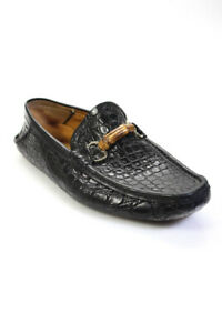 Gucci Mens Leather Bamboo Horse Bit Loafers Black Size 9