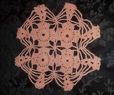Handmade Vintage Orange Crocheted Doilie. 23cm. Beautifully detailed