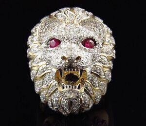 14K Yellow Gold Over 2.50Ct Ruby & Diamond Lion Head Tiger King Biker Ring Mens