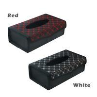 Sport PU Leather Tissue Paper Box Cover Holder Car Auto Desk Dashboard Folded