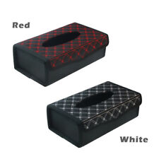Sport Leather Tissue Paper Box Kleenex Cover Holder for Desk Dashboard Red/White