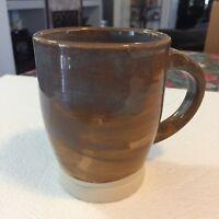 Pottery Coffee Mug / Cup Imprinted DG POTTERY Brown And Tan - Unused