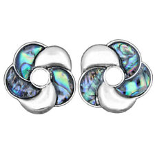 Retro Water Drill Pattern Star Flower Abalone Shell Stud Earrings