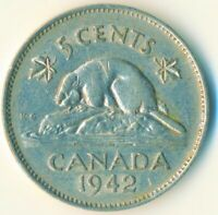 COIN / CANADA / 5 CENT 1942 / KING GEORGE VI.  #WT6492