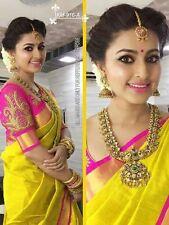 Ditsa Fashion Bollywood Indian Ethnic Wedding Chanderi Cotton Yellow Saree