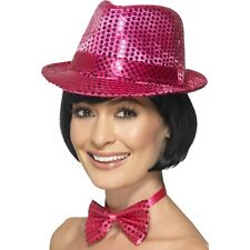 Women's Pink Sequin Trilby Hat Fancy Dress Dance Show Gangster Hen Party Fun