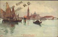 Harpursville NY Overprint Greeting Venice Italy c1910 Postcard