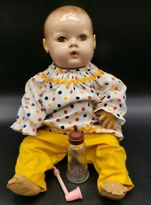 """VINTAGE EFFANBEE DY-DEE BABY DOLL 14"""" WITH GLASS BOTTLE AND BUBBLE PIPE"""