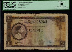 Libya:P-18,10 Pounds ,1952 * King Idris * PCGS VG 10 App *