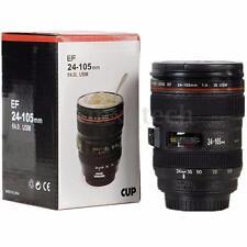 New Black Lens Thermos Camera Lens Cup 24-105mm Travel Coffee Tea Mug Cup