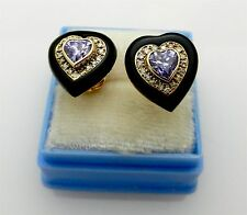 HEART Shape 14k Yellow Gold Natural Amethyst Onyx Diamond Stud Earrings