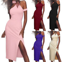 Women's Bandage Sleeveless Evening Party Ballgown Side Slit Bodycon Midi Dress