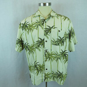 Men's X-large Shirt Joe Marlin Beige Palm Trees Hawaiian Casual Shirt