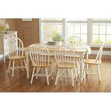 7 piece Farmhouse Dining Kitchen Set Table & 6 Windsor Chairs White and Natural