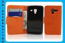 Naranja Cuero Billetera Petaca Abatible Estuche Cubierta para Samsung Galaxy Ace 2 GT-I8160