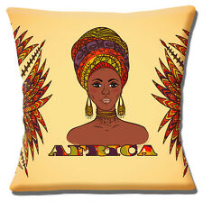 African Tribal Lady Cushion Cover 16x16 inch 40cm Africa Theme Brown Shades