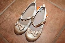 NWT Gymboree Savanna Party Size 8 Gold Satiny Jacquard Bow Dress Shoes