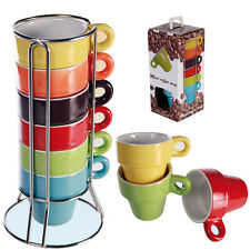 SET OF 6 ESPRESSO COFFEE TEA MUGS WITH STAND LATTE CERAMIC CUP KITCHEN NEW GIFT