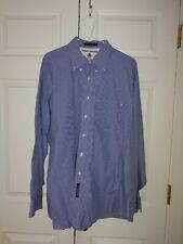 Men Tommy Hilfiger Blue and White Gingham Button Down Dress Shirt Size 17-35