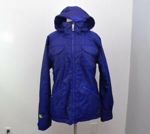 Burton Jacket Womens Large Blue Dry Ride Hooded Zip Ski Snowboard Active Coat