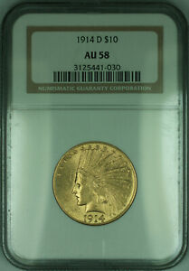 1914-D Indian Eagle $10 Gold Coin NGC AU-58 (KD)