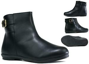 Women New Casual/Formal Slip On Leather Buckle Ankle Wide Fit Chelsea Boot UK