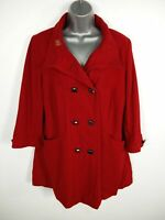 WOMENS L'ART RED BUTTON UP DOUBLE BREASTED 3/4 SLEEVED WOOL BLEND PEA COAT UK 12