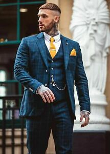 Mens Cavani Tweed Blue Check Wedding Quality Lined Tailored Fit  3 Piece Suit