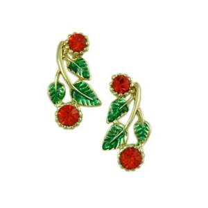 Red Holly Berries with Green Leaves Pierced or Clip Christmas Earring - XP621E