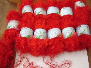 KING COLE MONTE CARLO eyelash wispy WOOL YARN – 702 BRIGHT RED 4mm DK