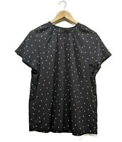 BASQUE Women's Top Size 14 Black & White Polka Dot Work Casual Top Blouse