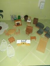 Calico Critters  Living Room Green Fireplace table bathroom kitchen bed desk +++