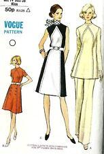 Vintage 1970s Sewing Pattern Vogue 8235 Contrast A-line Dress,Tunic, Pants  B36