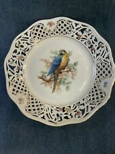 Schumann Arzberg Germany Parrot Cabinet Plate Filagree Edge Germany Crown Mark