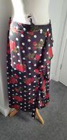 "New ZARA Red Rose & Polka Dot Printed Midi Skirt with Ruffles Size L Waist 30"""