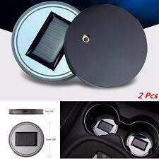 Car 2 Pcs Solar Blue LED Light Cup Holder Bottom Pad Mat Trim Atmosphere Light