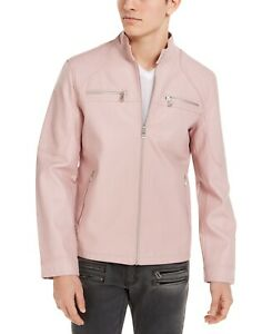 INC Mens Jacket Pink Size XL Faux-Leather Front Zip Washed Moto $129 #049