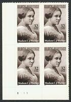 #3181 32c Madam C.J. Walker, Plate Block [B111 LL], Mint **ANY 4=FREE SHIPPING**