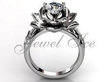 Platinum Moissanite Lotus Flower Engagement Ring Wedding Ring ERMZ-1076