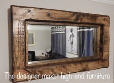 Mirror Rustic Wooden Farmhouse Mirror Reclaimed Wood dark oak wax wall Mirrors