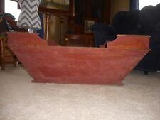"Farmhouse Primitive Wood Red Handmade Antique Baby Bassinet Original Large 36"""