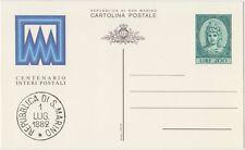 SAN MARINO CARTOLINA POSTALE 200 LIRE 1/9/1982 CENTENARIO LIBERTAS - NUOVA C55