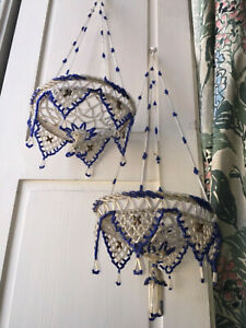 ANTIQUE VICTORIAN GLASS BEADED PAIR OF HANGING BASKET PLANTERS
