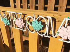 Metal Hanging Flower Welcome Sign Wall Art Yard Outdoor Patio Fence Decoration