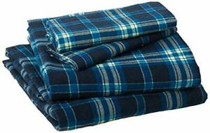 Pointehaven Flannel Deep Pocket Set with Oversized Flat Sheet Queen Ashby Plaid